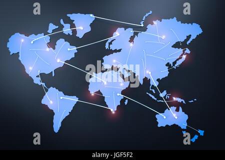 globalen Netzwerk-Konzept mit 3d Rendering-Weltkarte mit Anschlussleitungen - Stockfoto