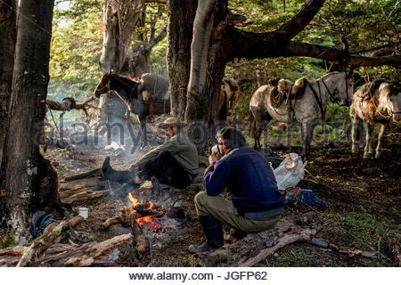Bagualeros, Cowboys, die wilden Tiere erfassen frühstücken und Pferde auf einer Reise zu laden. - Stockfoto