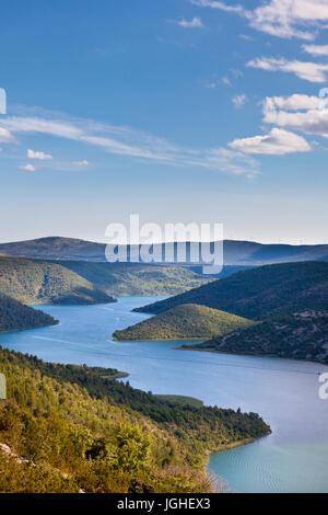 Luftbild von der Krka Fluss in die Krka Nationalpark, Kroatien - Stockfoto