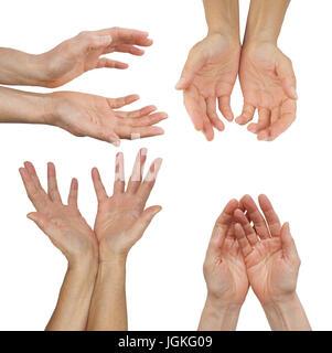 Die Haende ein Energy Healing Practitioner - weibliche Hände in vier verschiedenen Position auf einem Hintergrund - Stockfoto