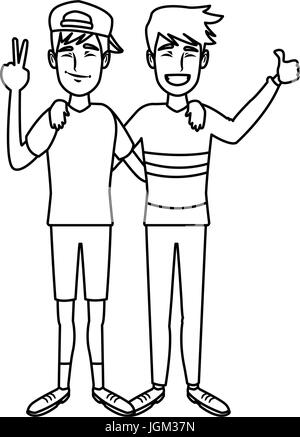 zwei jungen lächelnd umarmen und schwenkten ihre Hände es best friends - Stockfoto
