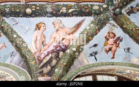 Fresko von Venus und Jupiter durch Giovann Francesco Penni, Villa Farnesina, Rom, Italien - Stockfoto