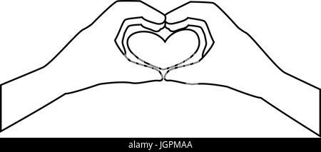 zwei Hände tun ein Herz Formen Symbol auf weißem Hintergrund-Vektor-illustration - Stockfoto