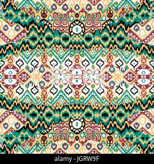 Ethnische böhmischen Arabeske Muster. Zick-Zack geometrisch Retro-abstrakten print. Stammes-Boho-Hintergrund-Vektor - Stockfoto