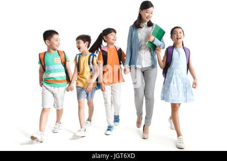 Fröhliche Schüler und Lehrer - Stockfoto