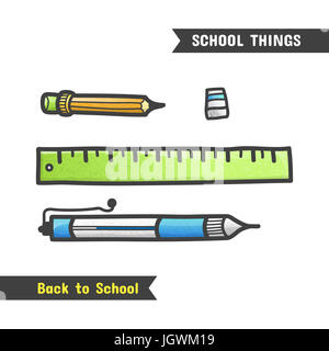 Zurück zu Schule-Versorgungsmaterialien, gezeichnete Handsymbol, isoliert auf weiss cartoon-Stil. Eine Reihe von Schreibwaren für die Schule, Kugelschreiber, Bleistift, Radiergummi und Regel Stockfoto