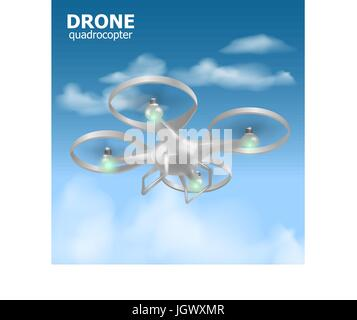 Realistische remote Luft Drone Quadrocopter fliegen in den Himmel und Überwachung der Sicherheit. Isomertic Ansicht. - Stockfoto