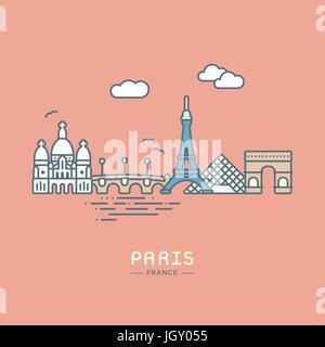 Symbol Linienart Paris Stadt flach Vektor-illustration - Stockfoto