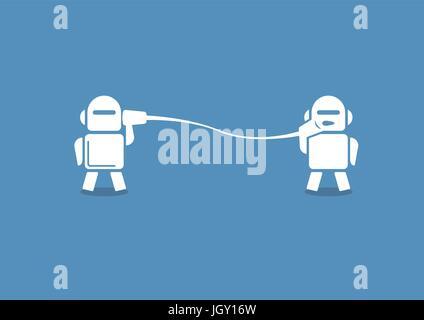 Robo-Berater-Konzept als Vektor-Illustration. Zwei Roboter miteinander auf blauem Hintergrund.