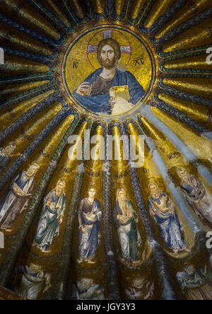 Mosaiken und Malereien des Christus in der byzantinischen Kirche st. Erlöser in Chora, Edirnekapı, Istanbul, Türkei - Stockfoto