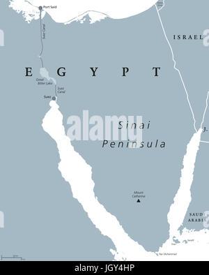 Politische Karte der Sinai-Halbinsel. Landbrücke in Ägypten zwischen Mittelmeer und am Roten Meer gelegen. Mit Suez - Stockfoto