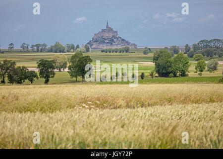 Frankreich, Région Normandie (Ancienne Basse Normandie), Manche, Baie du Mont Saint-Michel, Ardevon, Panorama Sur - Stockfoto