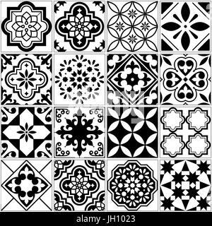 Portugiesische schwarz wei mediterrane nahtlose kachelmuster monochrome geometrische formen - Fliesenmuster schwarz weiay ...