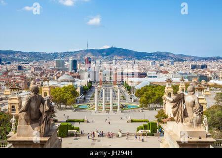 Skyline-Blick über Barcelona Montjuic, Barcelona, Katalonien (Catalunya), Spanien, Europa - Stockfoto