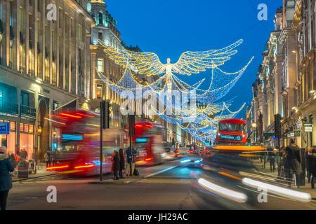 Weihnachtsbeleuchtung, Regent Street, West End, London, England, Vereinigtes Königreich, Europa - Stockfoto