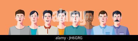 Mannes soziale Netzwerke Club, flachen Design-Charakter - Stockfoto
