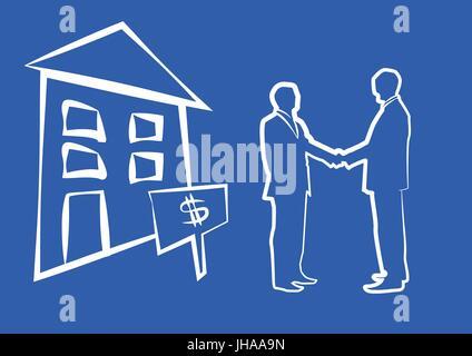 Silhouette von zwei Geschäftsleute Händeschütteln vor der Haus - Stockfoto
