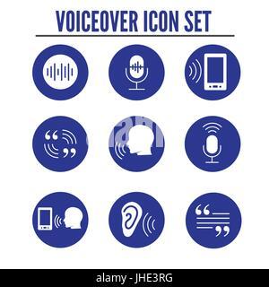 VoiceOver oder Voice Befehlssymbol mit Schallwellen Bilder Set - solide - Stockfoto