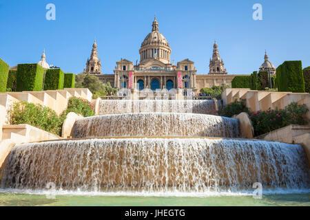 Barcelona-Catalunya Spanien Barcelona Stadt Palau Nacional National Art Museum of Catalonia Plaça de Les Cascades - Stockfoto