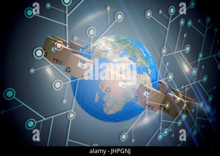 Weltkarte inmitten von Kartons auf schwarzem Hintergrund mit glühenden Netzwerk - Stockfoto
