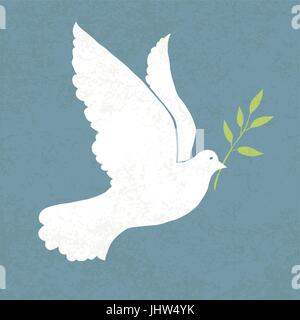 Taube mit Olivenzweig. Vektor-Illustration, EPS 10 - Stockfoto