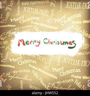 Weihnachtsgrüße In Verschiedenen Sprachen.Retro Weihnachtsgrüße In Verschiedenen Sprachen Stockfoto Bild