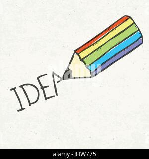 Bleistift und Idee Wort. Handgezeichnete Abbildung, EPS10 - Stockfoto