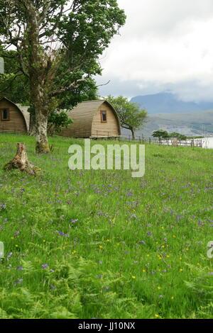 Glamping-Pods auf der Isle of Raasay, Scotland - Stockfoto