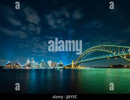Sydney CBD und die Harbour Bridge Stockfoto