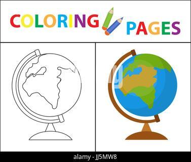 Glücklich und niedliche Kinder mit Globe, abstrakte Zeichnung ...