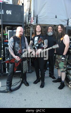Chicago, Illinois, USA. 16. Juli 2017. Slayer erklingt in Chicago Open Air Festival in Bridgeview, Illinois am 16. - Stockfoto