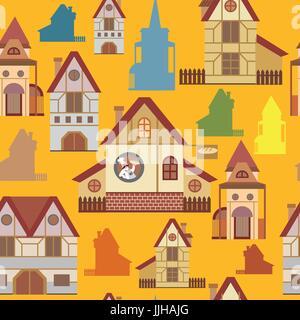 Nahtloses Muster mit bunten Cartoon Häuser im europäischen Stil auf gelbem Hintergrund - Stockfoto