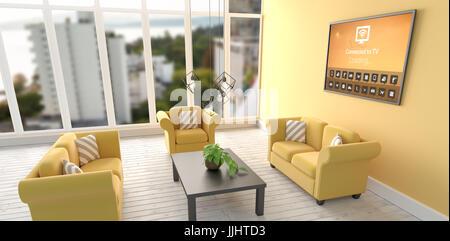 Digital zusammengesetztes Bild der verschiedenen Symbole mit Text gegen digitales Bild des modernen Wohnzimmer - Stockfoto