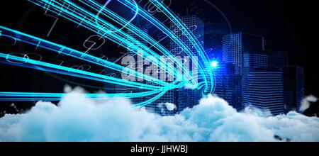 Digital erzeugte Bild von flauschigen Wolken gegen blaue Lichtstrahlen über Wolkenkratzer - Stockfoto
