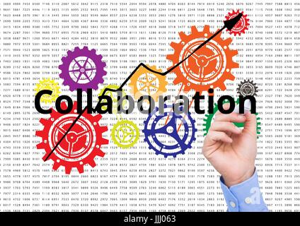 Zusammenarbeit auf dem Bildschirm mit Farbe Cogs schreiben. Zahlen-Hintergrund - Stockfoto