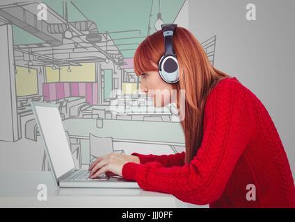 Schreibtisch gezeichnet  Hand gezeichnet Kopfhörer Stockfoto, Bild: 49430949 - Alamy
