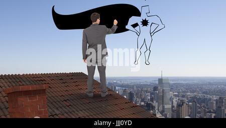 Rückansicht des Geschäftsmannes auf Dach zeichnen 3d super-Helden in der Luft - Stockfoto