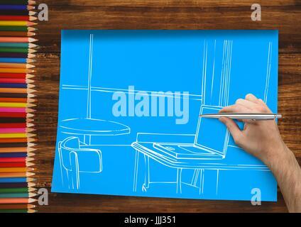 Handzeichnung Büro weiße Linien auf blauem Papier. In dem einen Schreibtisch mit Bleistiften - Stockfoto