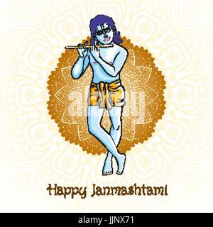 Cartoon Krishna Mit Einer Querflote Grusskarte Fur Krishna