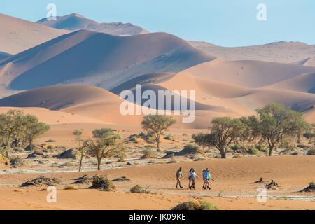 Touristen zu Fuß entlang der alten Sand Dünen und Wüsten grün im Namib-Naukluft National Park in Namibia, Africa.Etosha, - Stockfoto