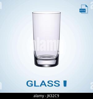 Longdrink-Glas auf einem Hintergrund isoliert. Realistische Vektor-Illustration. - Stockfoto