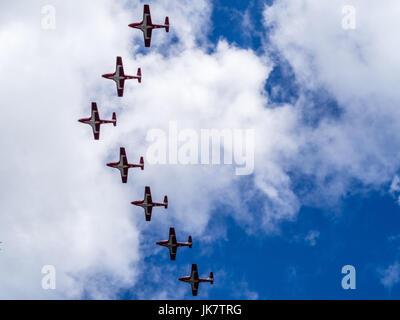 Die CF-Snowbirds flypast über Ottawa, der Hauptstadt Kanadas, am Canada Day - Stockfoto