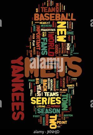 METS YANKEES Spalte Text Hintergrund Word Cloud-Konzept - Stockfoto