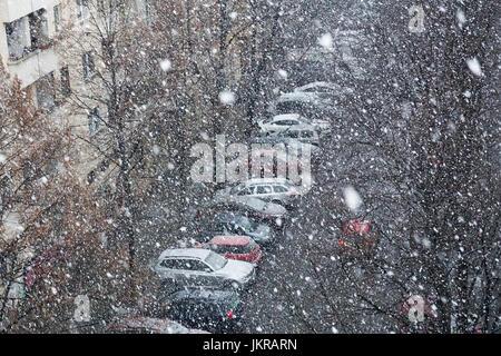 Erhöhte Ansicht des Autos durch kahle Bäume auf Straße in der Stadt bei Schneefall, Berlin, Deutschland - Stockfoto
