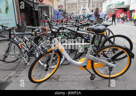 Ein neues Fahrrad Verleih Schema Rivalen Boris Bikes hat in London ins Leben gerufen. Die Start-up-Firma aus Singapur - Stockfoto