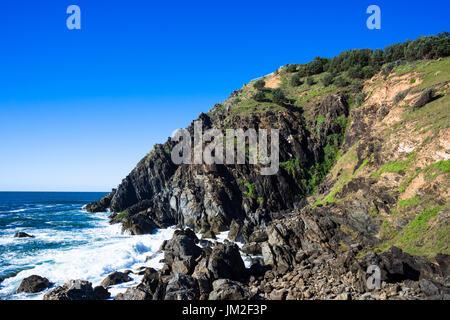 Dramatische Landschaft am östlichsten Punkt Australiens an Cape Byron Bay, New South Wales, Australien. - Stockfoto