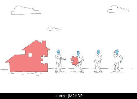 Business-Menschen-Gruppe bauen Haus Team zusammen Anlagekonzept - Stockfoto
