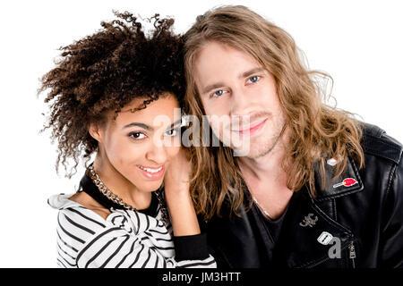 Close-up Portrait von schöne junge stilvolle paar zusammenstehen und lächelt in die Kamera - Stockfoto