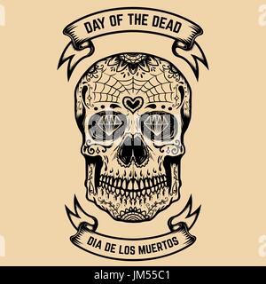 Day of the Dead. Dia de Los Muertos. Zucker-Schädel mit floralem Muster. Gestaltungselement für Poster, Grußkarte. - Stockfoto