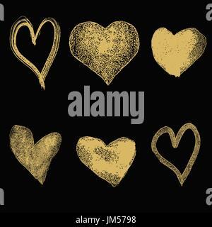 Satz von Hand gezeichnete Herzen im goldenen Stil auf dunklem Hintergrund isoliert. Vektor-Illustration. - Stockfoto